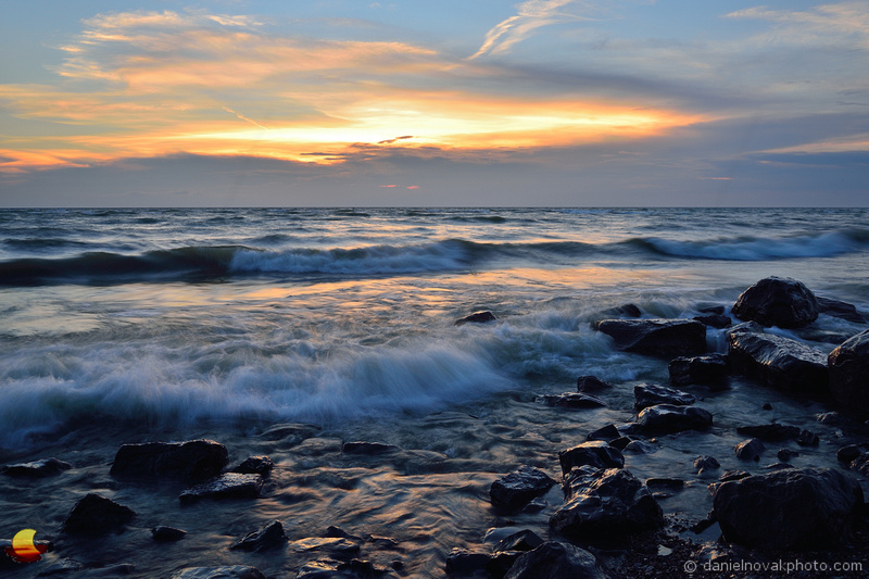 Rocky Shore at Sunset, Lake Erie, Incoming Wave