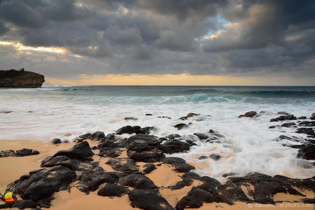 Cloudy Shipwreck Beach Sunrise, Kauai, Hawaii