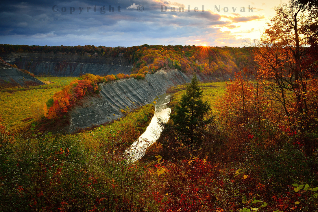 A Momentary Sunrise at Hog's Back, Letchworth State Park. Celebrating autumn - fall - see you next year!