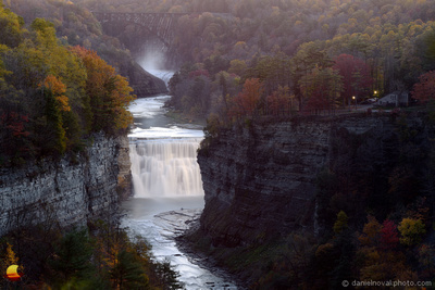 Two Bridges - Two Waterfalls, The Old & The New Bridge and Upper and Lower Falls, Letchworth State Park at Dusk