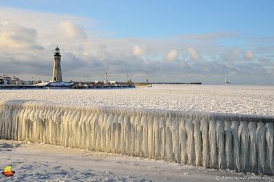 Sunny but not Warm, Buffalo Main Light Lighthouse in Winter, Erie Basin Marina, Buffalo, NY