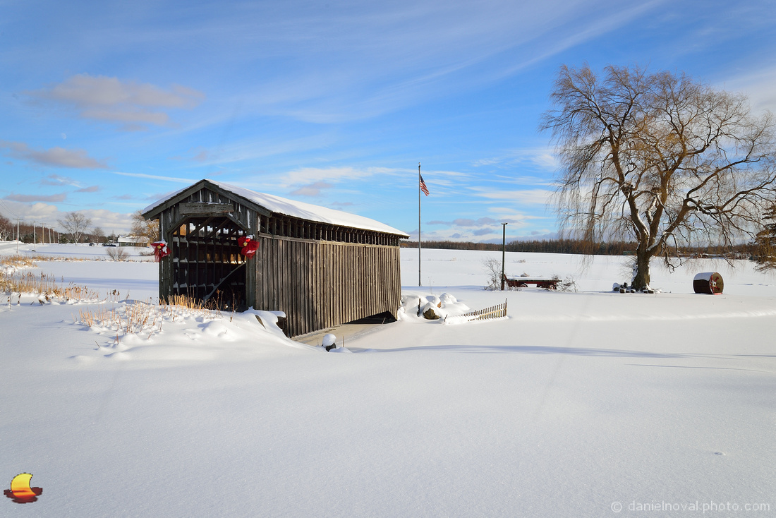 Covered Bridge of Winter's Pond, Western New York Winter Landscape Photography