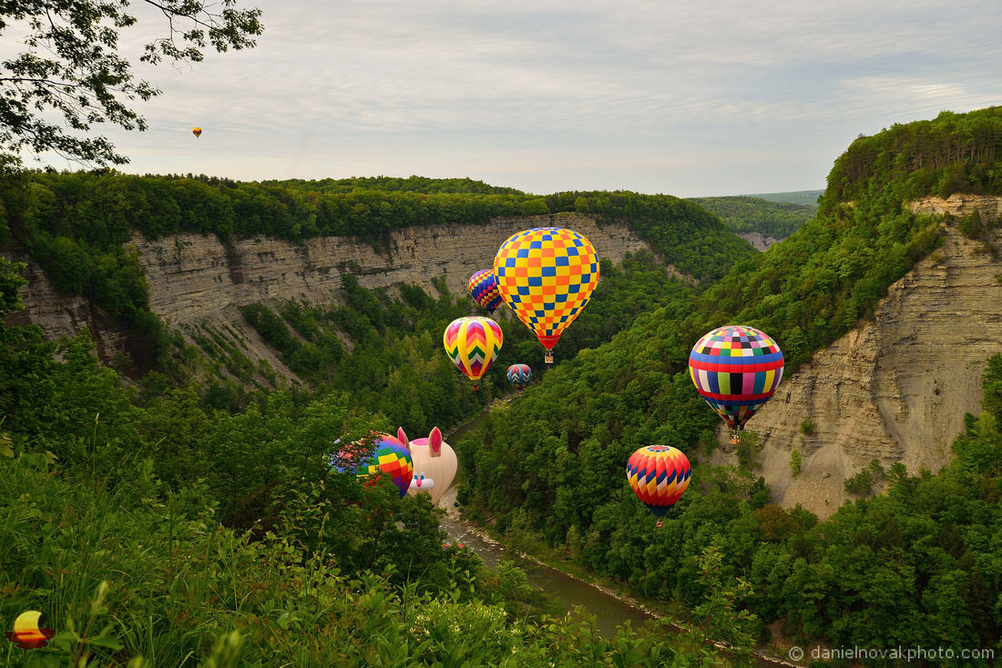 Balloon Crowd at the Letchworth State Park Gorge, 17th Annual Red, White, and Blue Balloon Festival 2018