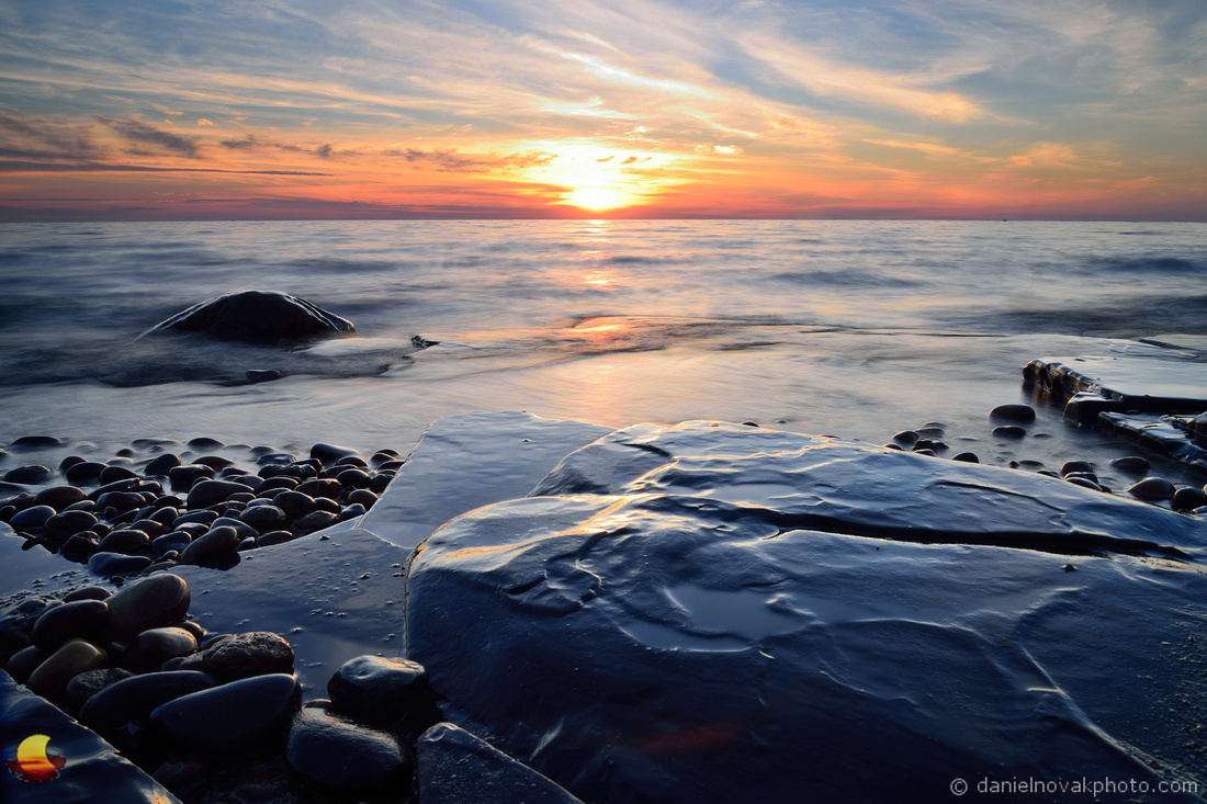 Boulders, Rocks, and Setting Sun, Lake Erie Sunset