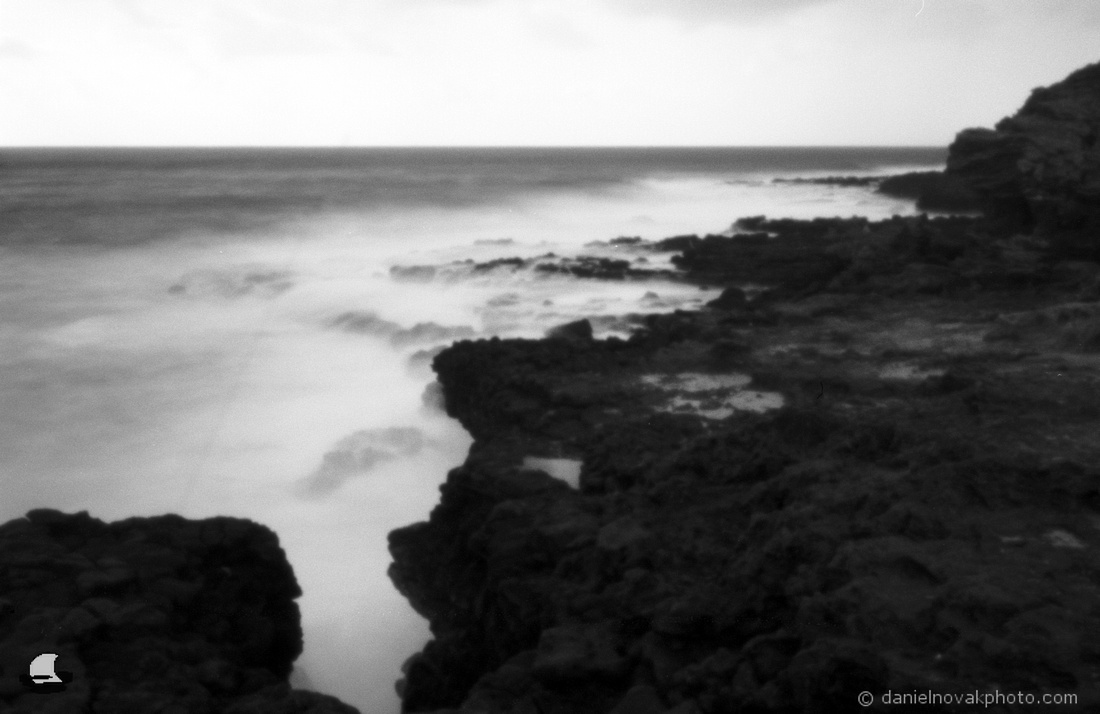 Makawehi Lithified Cliffs, Hawaii - Zero Image 35mm Pinhole Camera, Ilford PANF Plus 50 Black & White Film