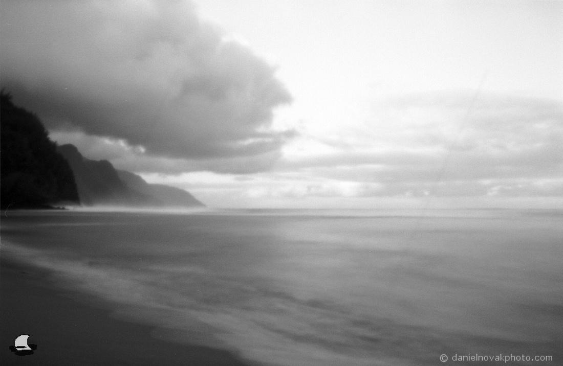 Ke'e Beach, Kauai, Hawaii - Zero Image 35mm Pinhole Camera, Ilford PANF Plus 50 Black & White Film