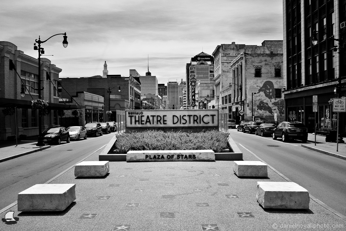 Buffalo Theatre District & Plaza of Stars, Black and White, Buffalo, NY