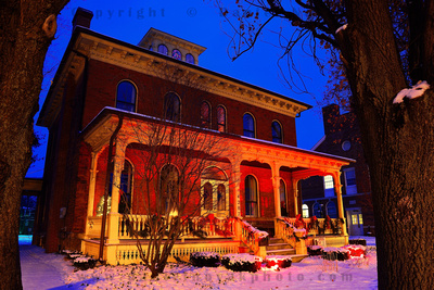 Historical Society Museum at Blue Hour as Day turns Into Night, Orchard Park, New York (NY).