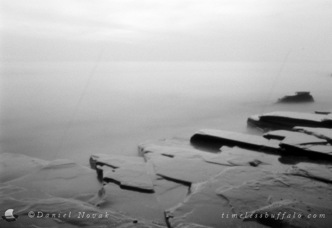 Rocky Shore, Lake Erie, Western New York; Black and White Film Pinhole Photograph