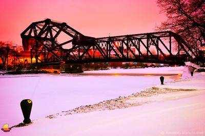 Robert Rich Way Bridge, Squaw Island Bridge over Black Rock Canal, Buffalo, New York (NY).