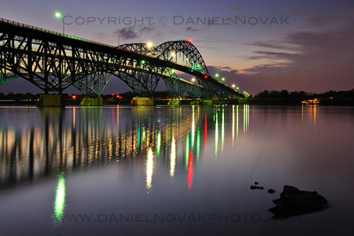 South Grand Island Bridge at Dusk, Large Matted and Framed Print, Ready to Hang