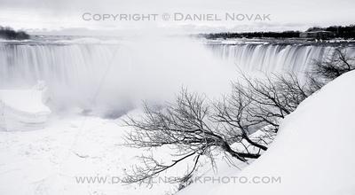 Horseshoe Falls in White, Niagara Falls, Twelve Months, Twenty Photos.