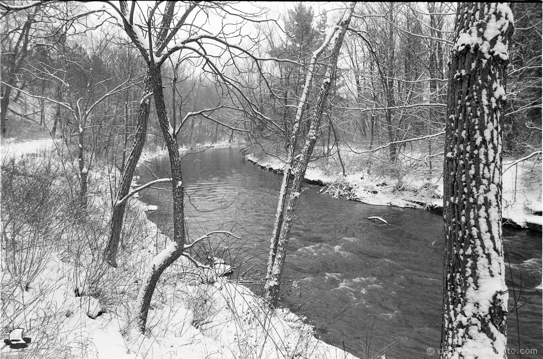 Film Photography: Eighteen Mile Creek Bend in Winter, Hamburg, NY