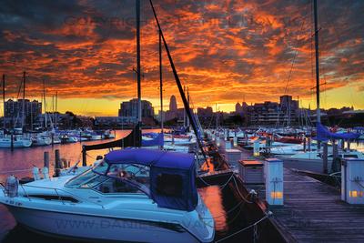 Morning Sunrise Fire in the Sky over downtown Buffalo and Erie Basin Marina, Twelve Months, Twenty Photographs
