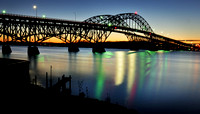 South Grand Island Bridge Before Sunrise heading from Grand Island, NY towards Tonawanda, NY over the Niagara River.