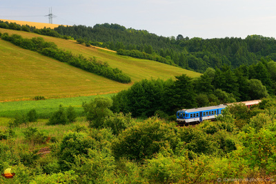 Local Train in Moravian Wilderness, Brno - Uhersky Brod route near the village of Nemotice in Southern Moravia, Czech Republic