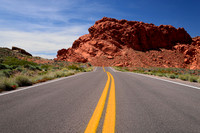 The Double Yellow Line of a Gorgeous Road through Valley of Fire State Park, Nevada