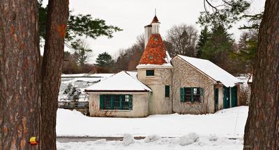 Knox Farm Garage by the Greenhouse, Knox Farm Winter Theme, East Aurora, New York (NY).