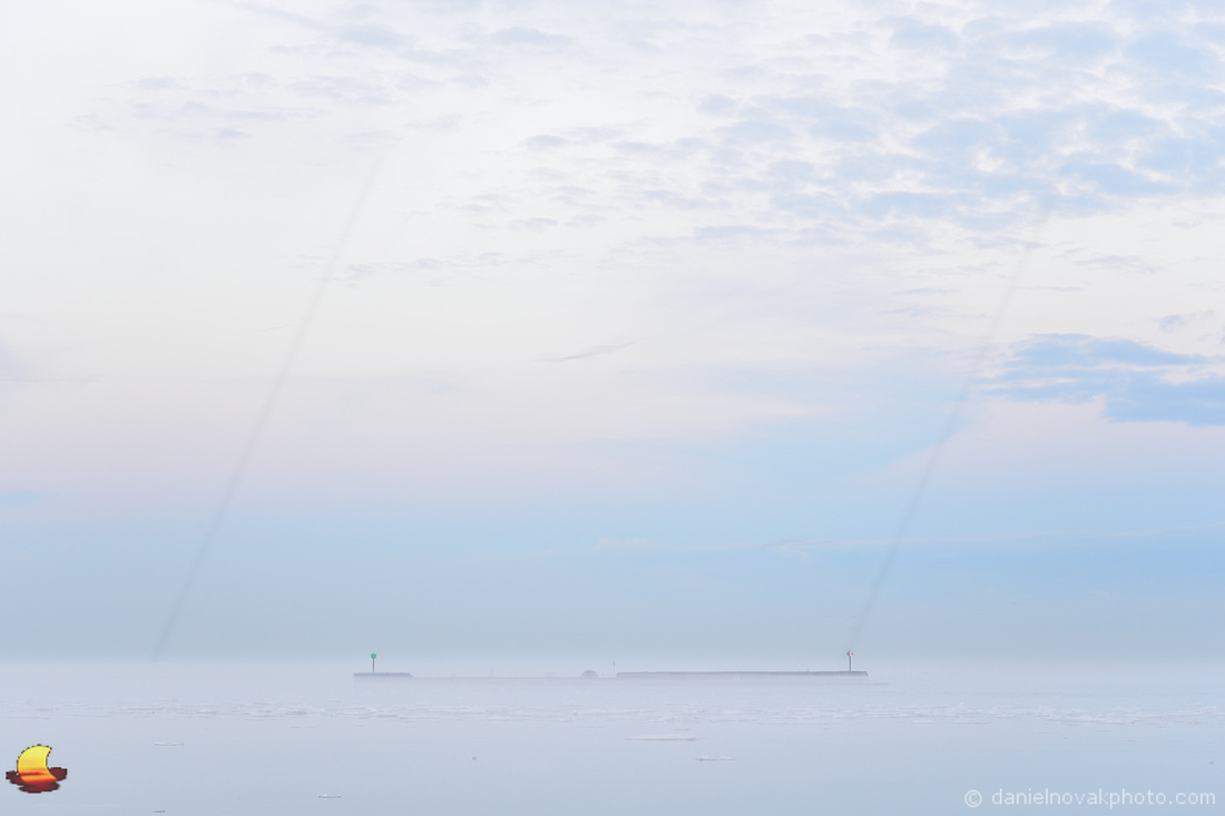 Breakwall in Fog, Erie Basin Marina, Buffalo, NY