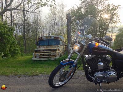 Old School Bus & Harley, Buffalo Southtowns