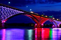 Color Splash Reflection under Peace Bridge over Niagara River, Buffalo, New York (NY)