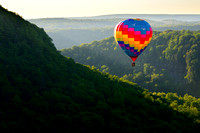 12th Annual Red, White & Blue Balloon Rally, Memorial Day Weekend, Letchworth State Park, Western New York. Hot Air Balloon over Great Bend.